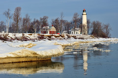 """Winter Reflections""  Point Aux Barques Lighthouse ~  Port Hope, Michigan by Michigan Nut"