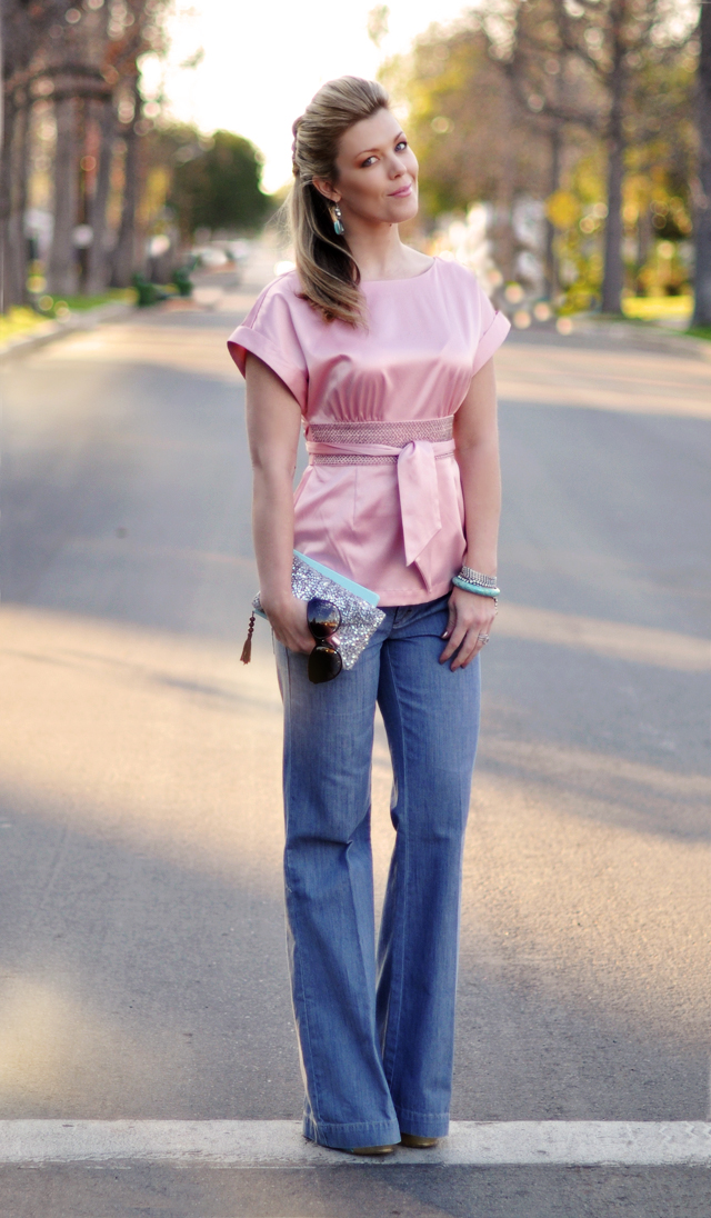pink satin top and jeans - dressed up wide leg  jeans