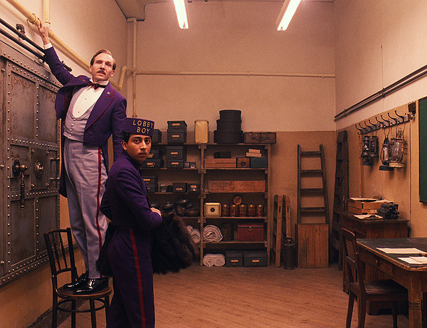 Ralph Fiennes and Tony Revolori are themselves set decoration in 'The Grand Budapest Hotel'.
