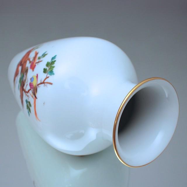 Hoechst, Porzellanmanufaktur, Höchst, Vase, Blumenvase, Balustervase, exotische Vögel, Fasane, Paradiesvögel