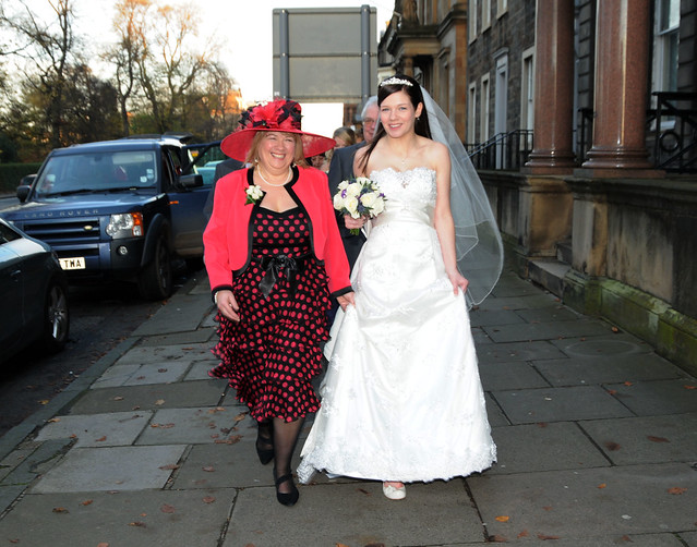 My mum and I (in full bridal getup) walking along Queen Street, Edinburgh