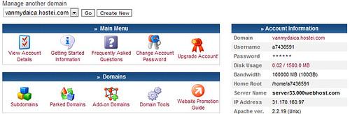 Giao diện quản lý host ở 000webhost.com