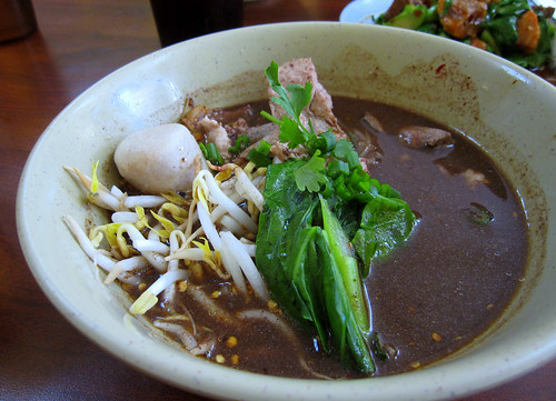 Boat noodles with pork and liver