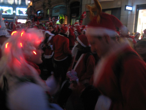 Dancing Santa's near Argyll Street - Santacon 2011