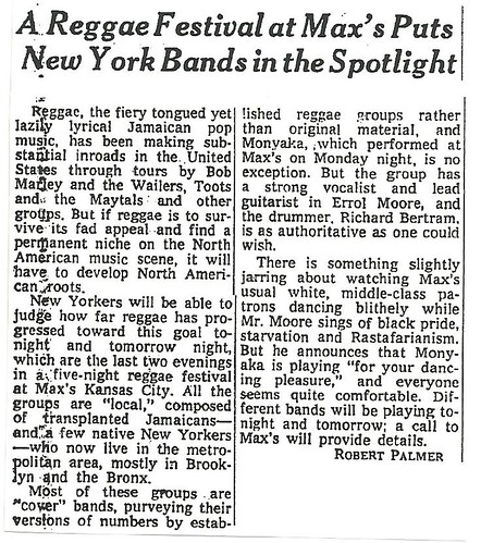 08-18-76 NYT REview - Reggae Fest @ Max's Kansas City