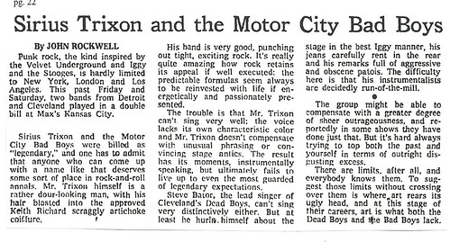 01-10-77 NYT Review - Sirius Trixon @ Max's Kansas City