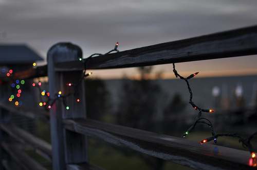 christmas lights on fence