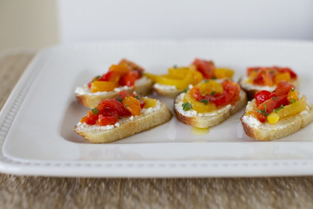 Chevre and Roasted Bell Pepper Crostini