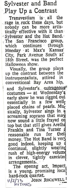 11-02-73 NYT Review - Sylvester and Hot Band @ Max's Kansas City