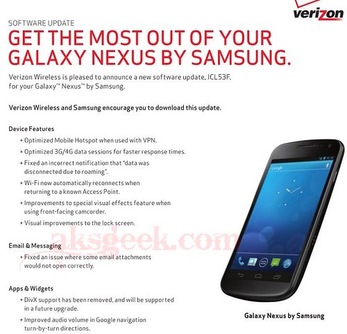 Galaxy Nexus Verizon Android 4.0.2 update