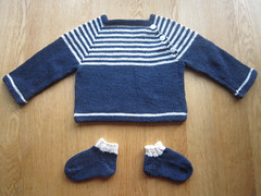 Simply stripy baby jumper and socks
