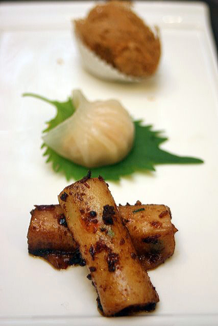 Dim sum (pan-fried rice roll with spicy shrimp paste, steamed shrimp dumpling, deep-fried yam puff