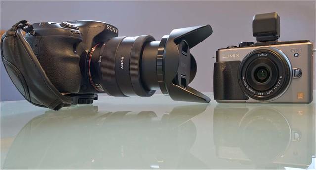 Panasonic Lumix GX1 14mm pancake lens Sony a77 16-50mm f/2.8