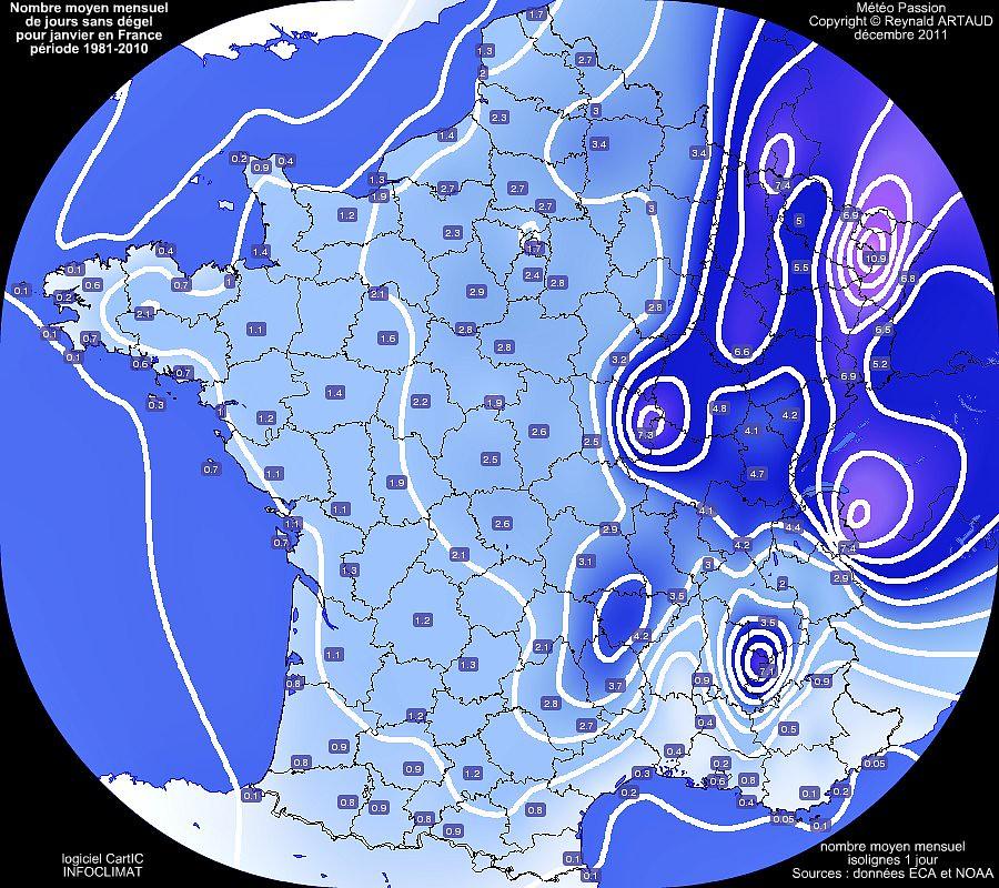 nombre moyen mensuel de jours sans d�gel ou avec gel permanent au mois de janvier en France pour la p�riode 1981-2010