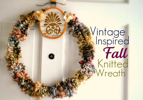 vintage inspired fall knitted wreath