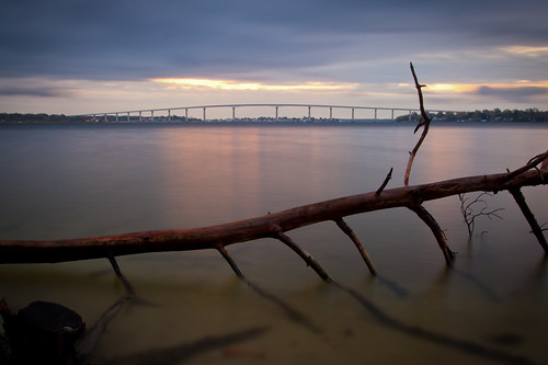 longexposure morning bridge water clouds sunrise dawn shoreline maryland chesapeake patuxent stmarys chesapeakebay solomons stmaryscounty