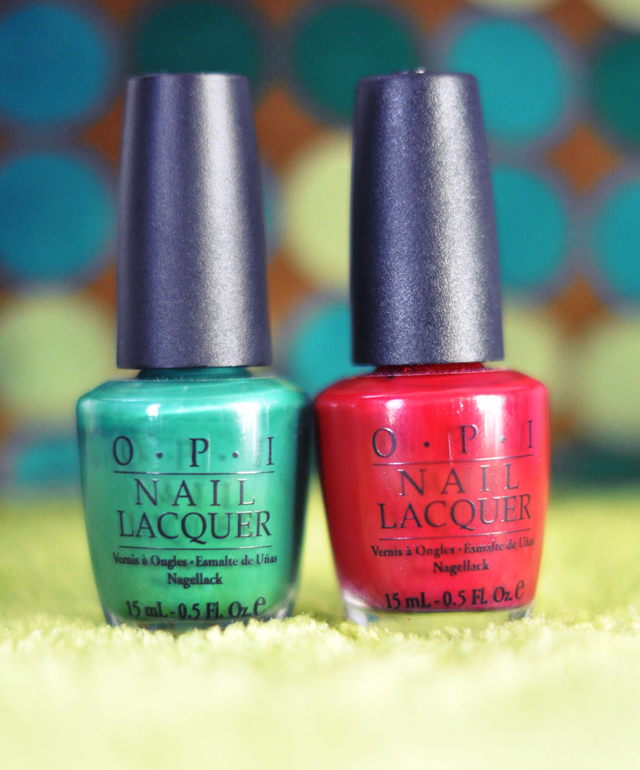 opi red and green nail polishes