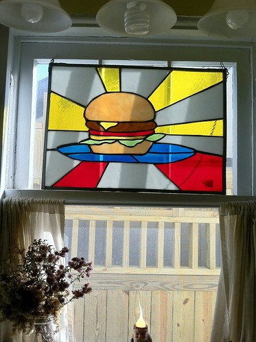 cheeseburger stained glass window