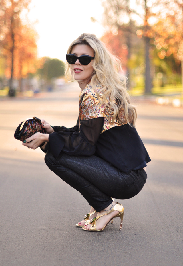 black and gold outfit-j brand jeans