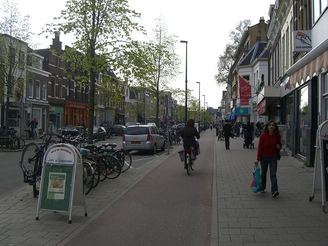 Велодорожка и тротуар
