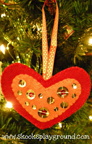 Red and Orange Heart Ornament 2011 - for Little Miss