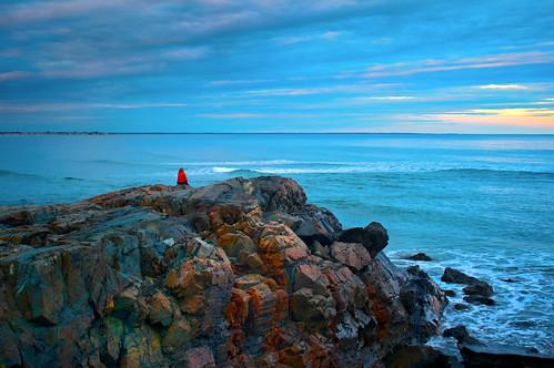 ocean sunset sea sky woman seascape cold beach nature rock coast seaside colorful view cloudy maine rocky formation shore coastline geology watcher ogunquit digitalcameraclub