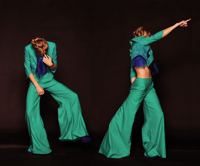 Sydney Fashion Photography, Green Pants Suit, High Fashion Shoot Studio Shots with movement by Kent Johnson.