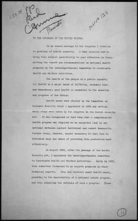 Message of President Franklin D. Roosevelt concerning national health, 01/23/1939 (page 1 of 4)