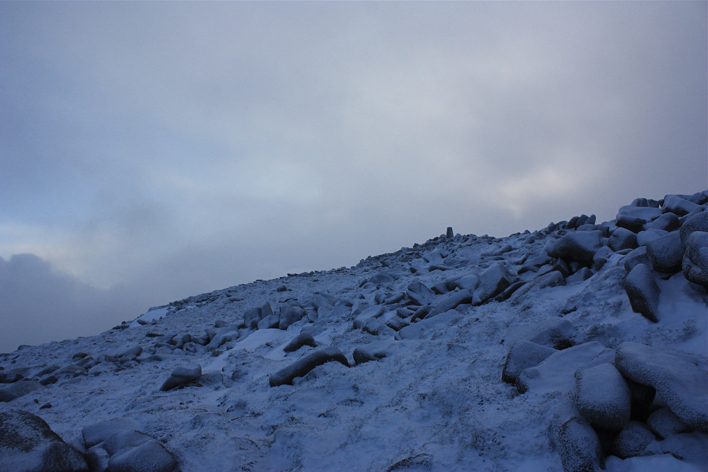 Distant trig point on Mt Keen