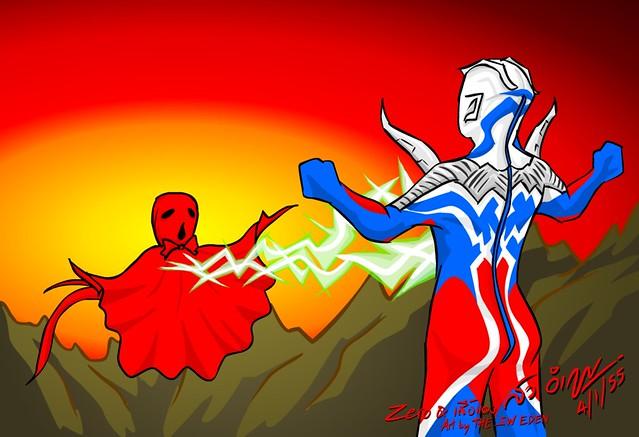 Ultraman Zero and Nova Monster ノーバ (てるてる坊主)