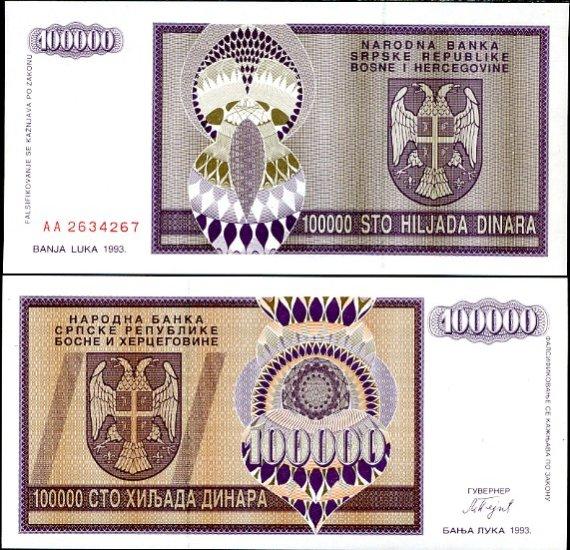 100 000 Dinárov Bosna Hercegovina 1993, Pick 141
