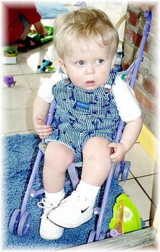 nathon in baby stroller