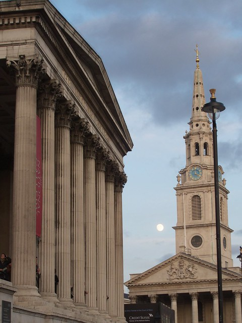 Waxing Gibbous Moon, Trafalgar Square