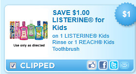 On 1 Listerine Kids Rinse Or 1 Reach Kids Toothbrush Coupon