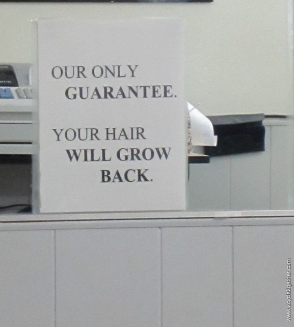 Guarantee - seen outside of $4.99 haircuts place