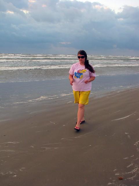 Karen walking the beach