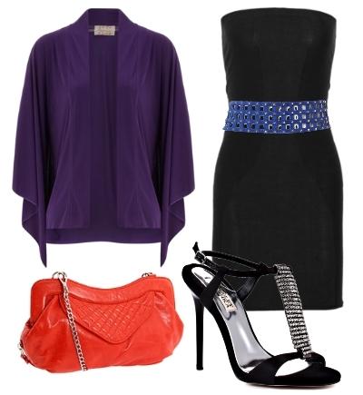 Purple jacket over little black dress