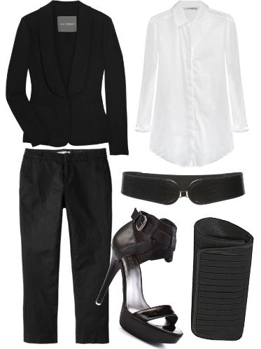 Black jacket over black trousers look