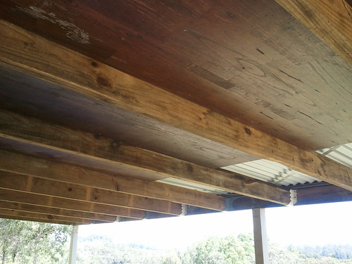 wooden panels to line the ceiling of the deck