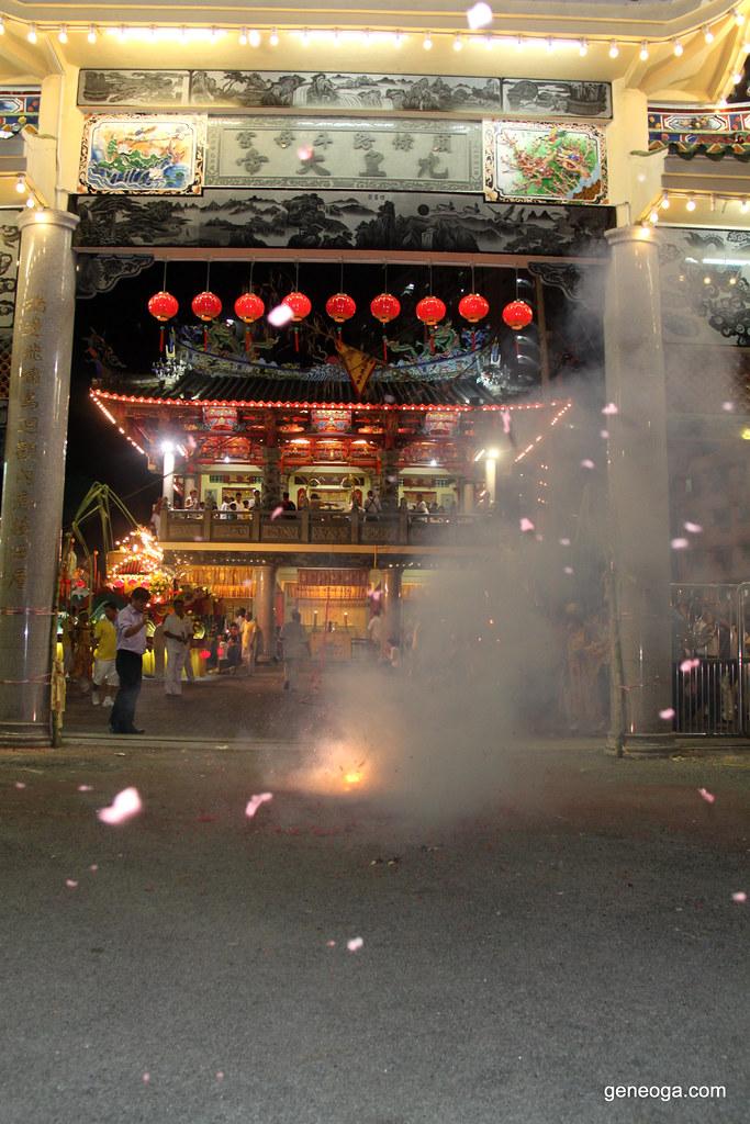 The very long firecracker blasting