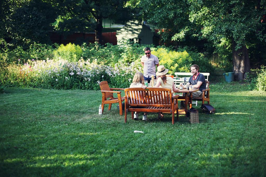 grill i trädgården