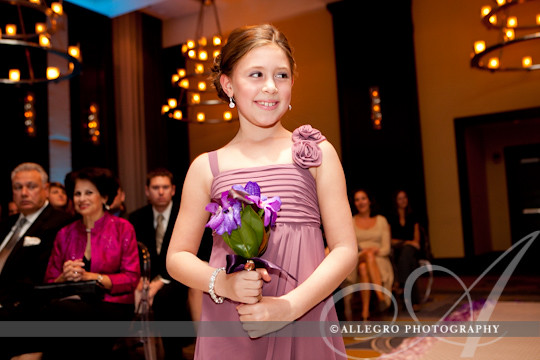 liberty-hotel-wedding-ceremony-fall- flower girl daughter of groom walks down the aisle
