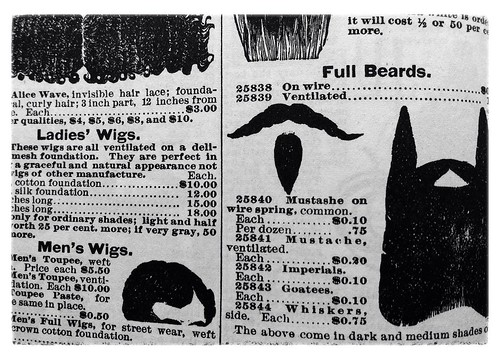 Wigs, goatees, beards and mustaches: Sears Roebuck, 1897