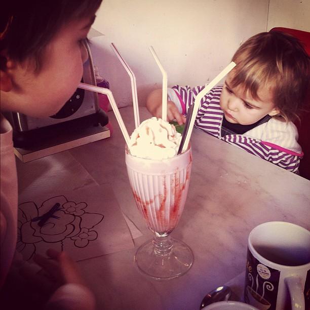 Milkshake. Four straws.