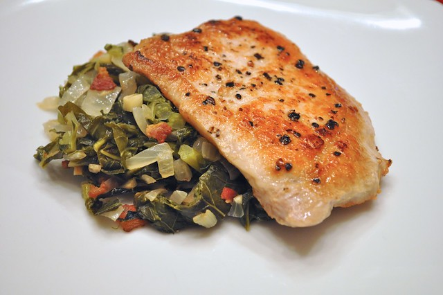 Pork Cutlets with Collard Greens