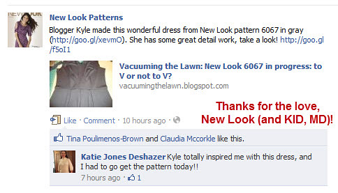 New Look's Facebook page on 1/17/12 with my NL 6067 in progress dress:  Thanks for the love, New Look!