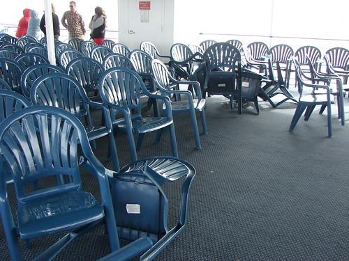 Windblown deck chairs