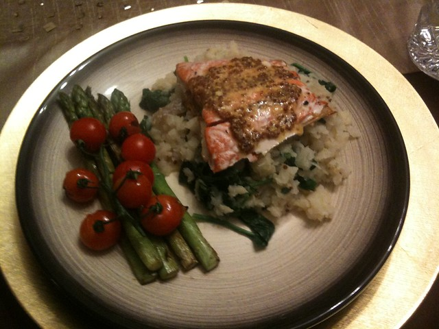 Salmon with mustard celeriac mash, asparagus and tomatoes | Flickr ...