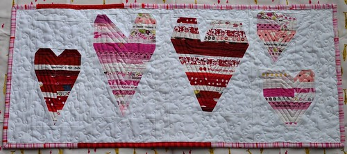 finished heart table runner