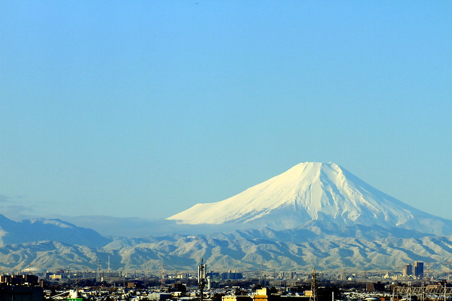 Mt.Fuji after a snow day from saitama